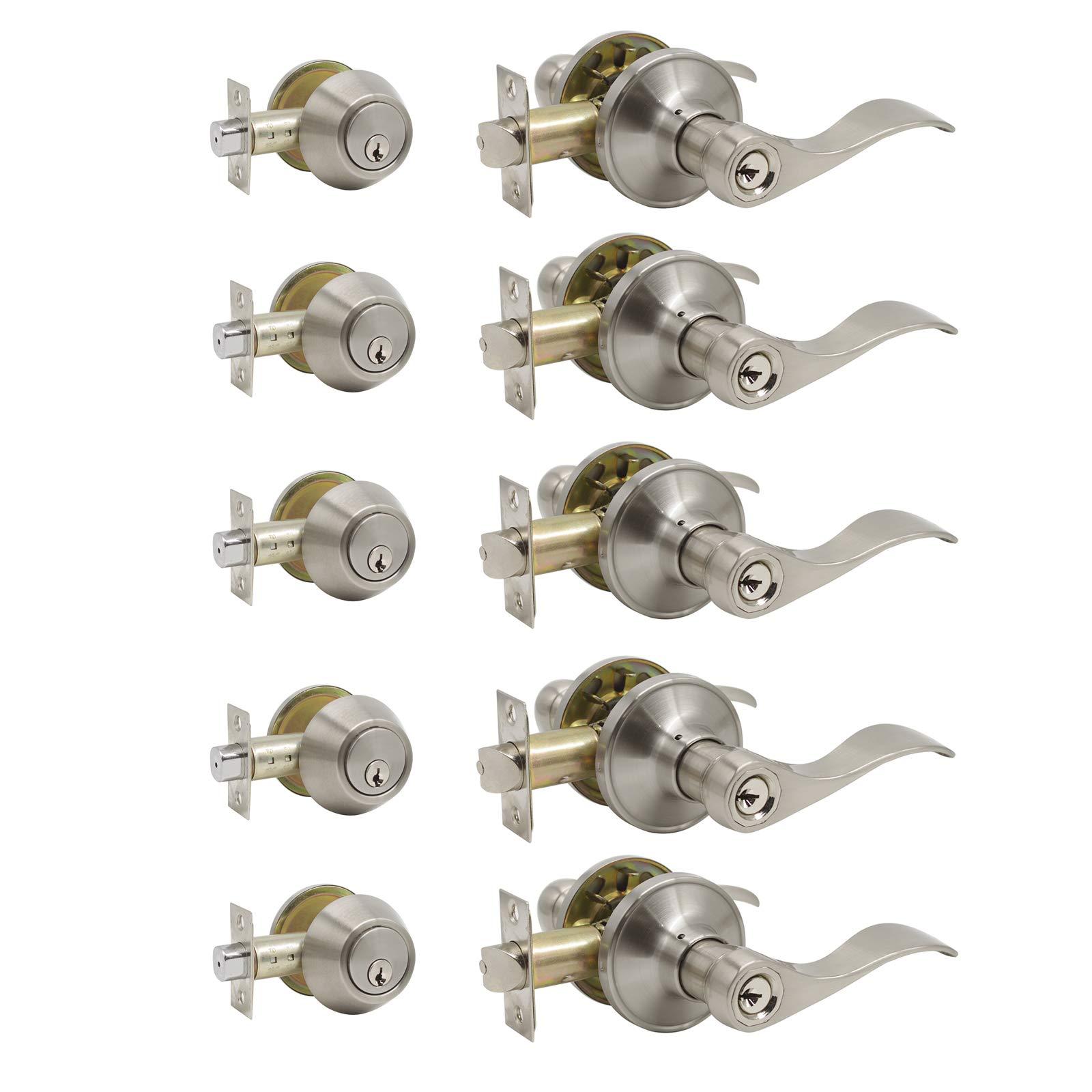 Keyed Alike Combo Pack of Entry Door Handles Knob with Double Cylinder Deadbolt, Durable Satin Nickel Finish Door Lockset, Door Handles Combination Pack of 5