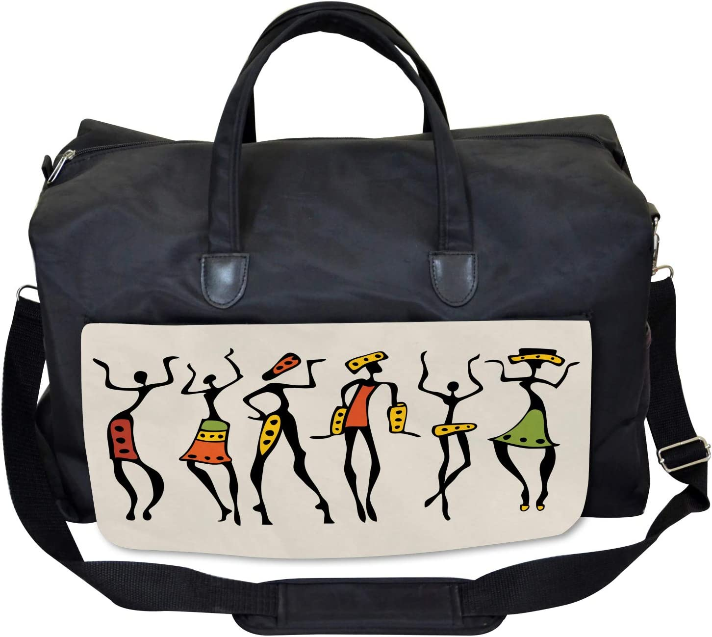 African Clan Dancer Ethnic Large Weekender Carry-on Ambesonne Afro Gym Bag