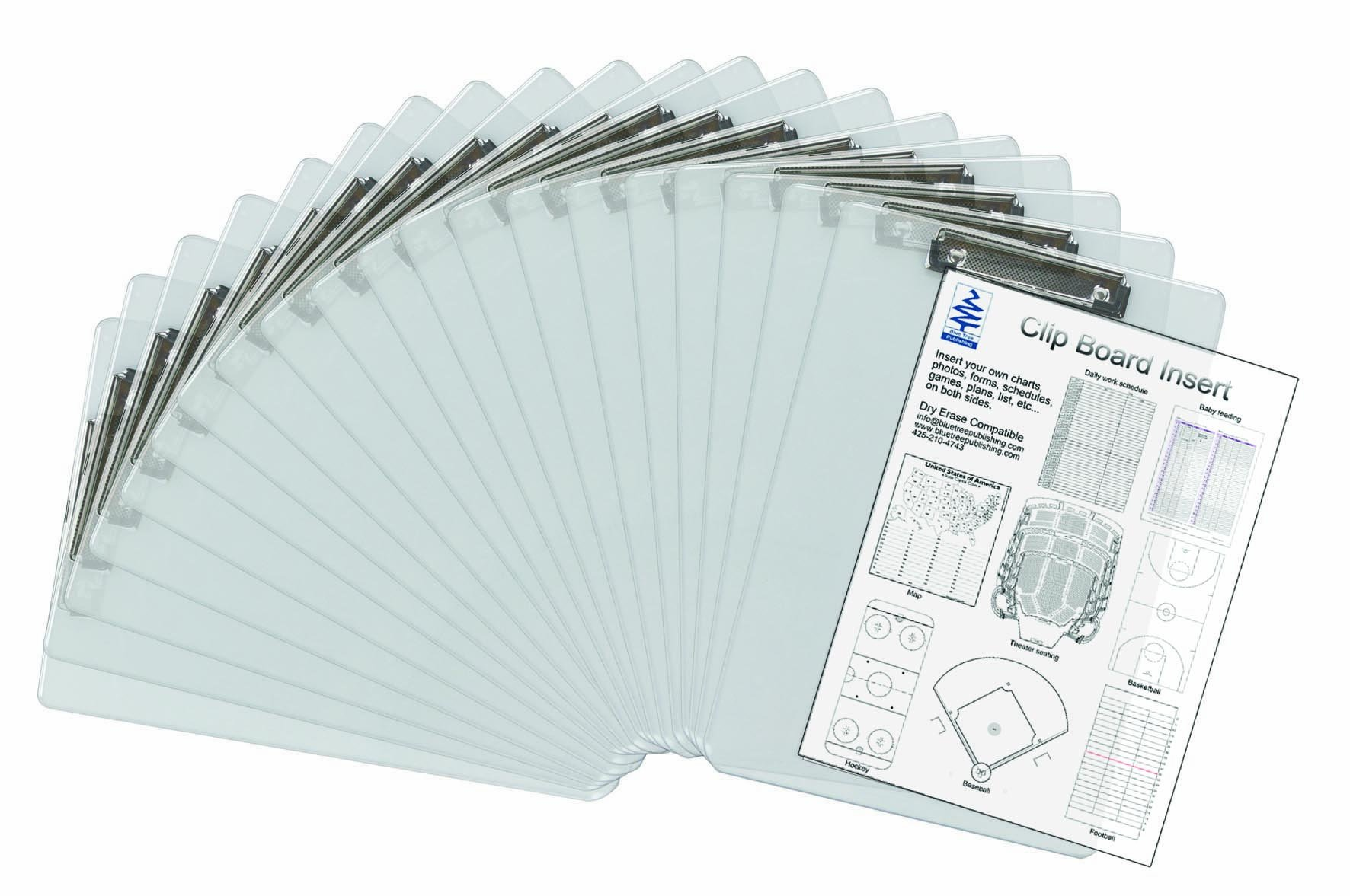 Insert Clipboard,See-thru 20 Pack, Transparent, Insert Documents You Need to See Quickly Between the Transparent Acrylic Sheets for Quick Reference. Both Sides Remain Visible. Dry Erase Compatible.