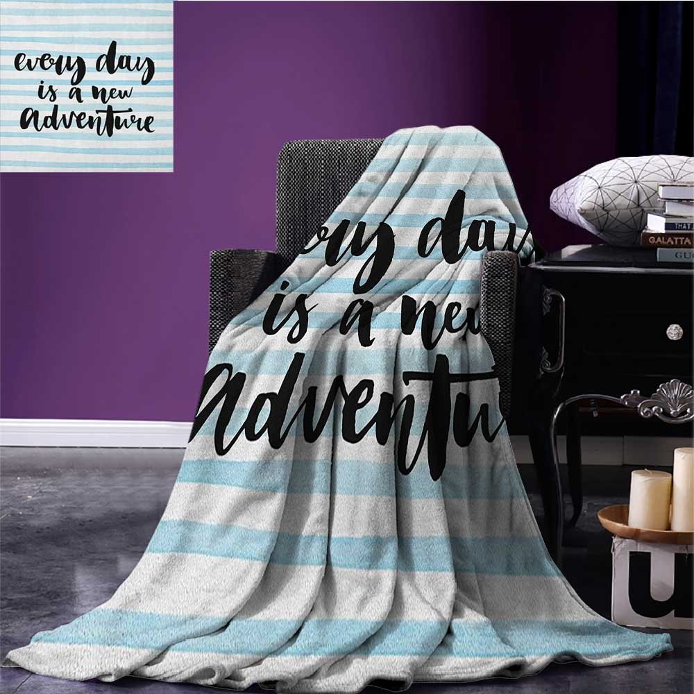 Adventure Patterned blanket Every Day is a New Adventure Quote Inspirational Things About Life Artwork beach blanket Baby Blue Black size:60''x80''