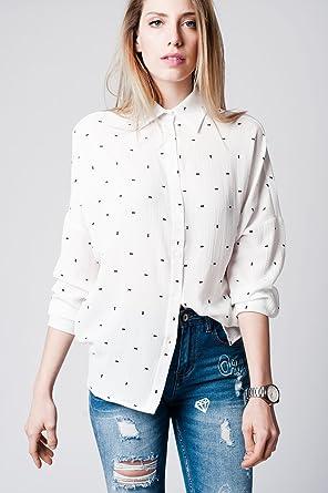 Q2 Mujer Camisa blanca con estampado azul y mangas de murciélago - S: Amazon.es: Ropa y accesorios