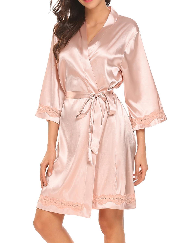 Unibelle Damen Kimono Morgenmantel Bademantel Kurz Schlafanzug Nachtwäsche Satin Blumenspitze mit Gürtel COK007815