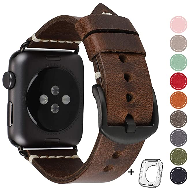 b34a36a5b Compatible for Apple Watch Band 42mm 44mm Man, Top Grain Leather Band  Replacement Strap iWatch