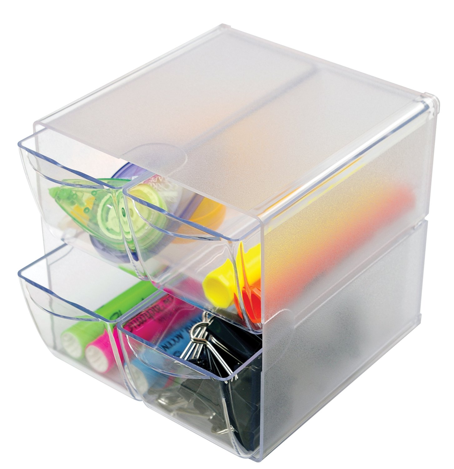 Deflecto Stackable Cube Organizer, Desk and Craft Organizer, 4 Drawers, Clear, Removable Drawers and Dividers, 6''W x 6''H x 7 1/8''D (350301CR)