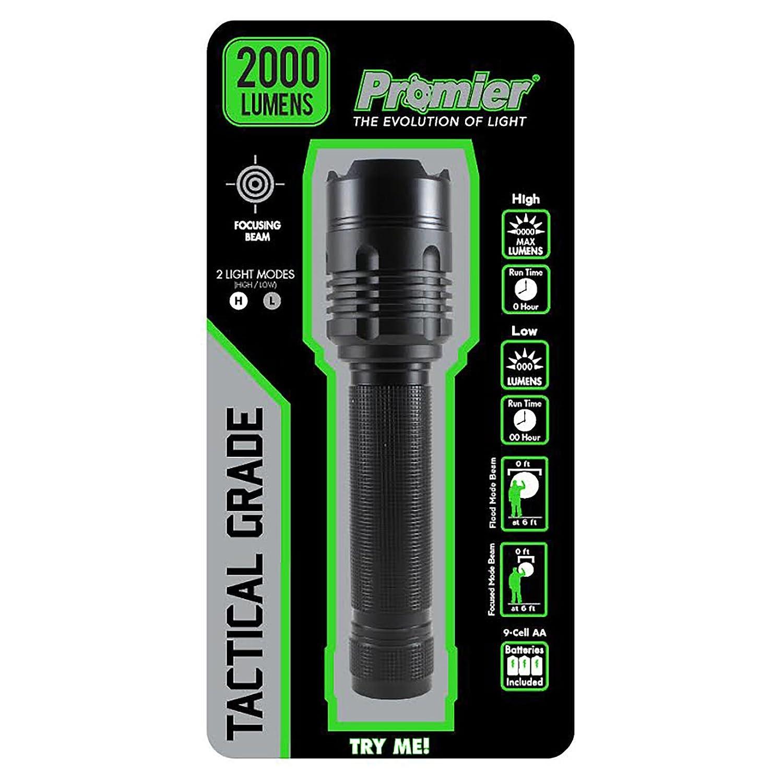 1000//2000 Lumen Light switch Portable Hand Held Bright Adjustable Long Range Beam 2000 Lumens Water Resistant Batteries incl LitezAll LA-2000FL Tactical Flashlight LED Durable Military Grade Promier P2000FL-8//16
