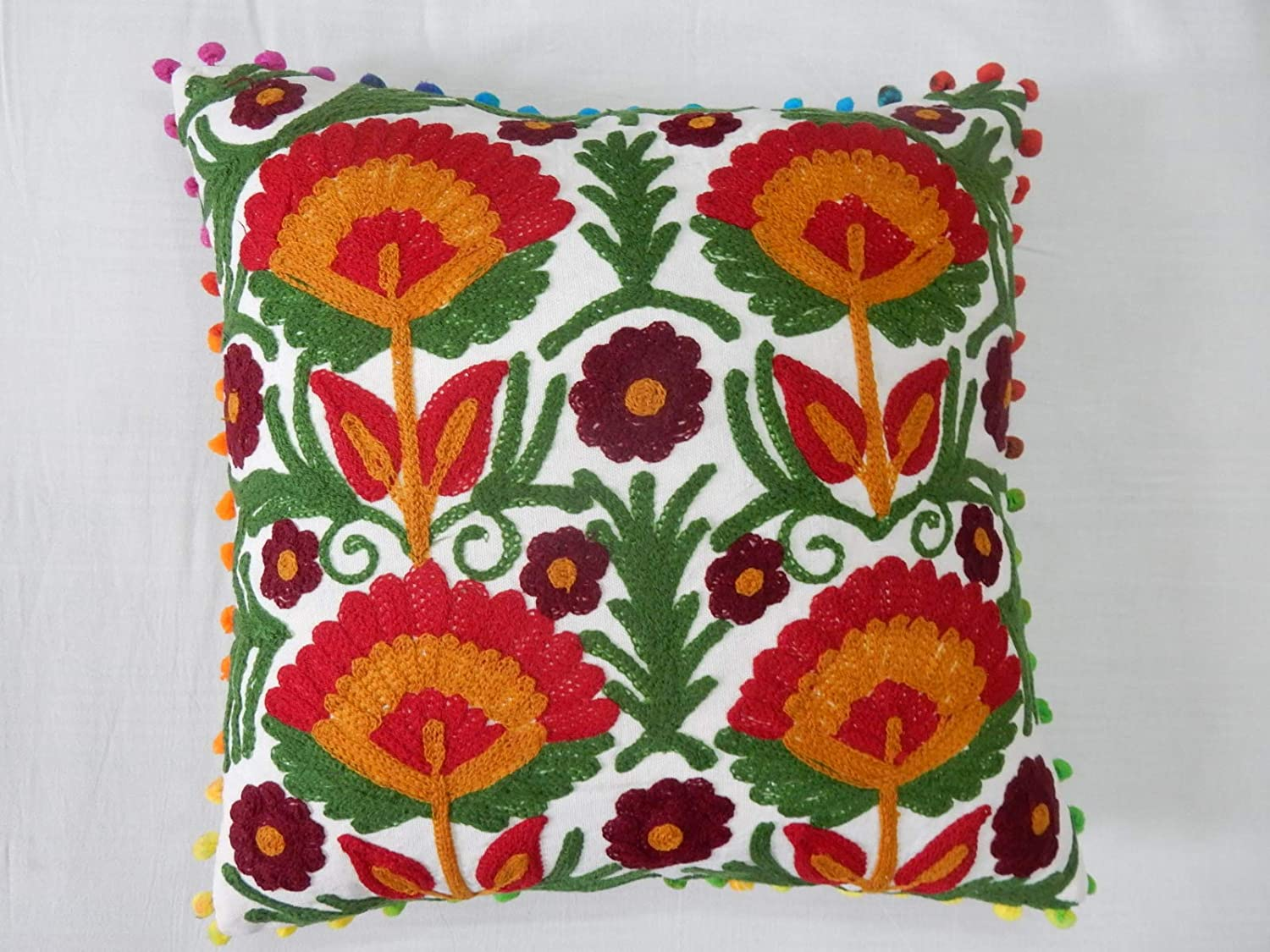 """Vintage 100/% Wool Handmade NeedlePoint Embroidery Pillow Case 16X16/"""" Black New"""