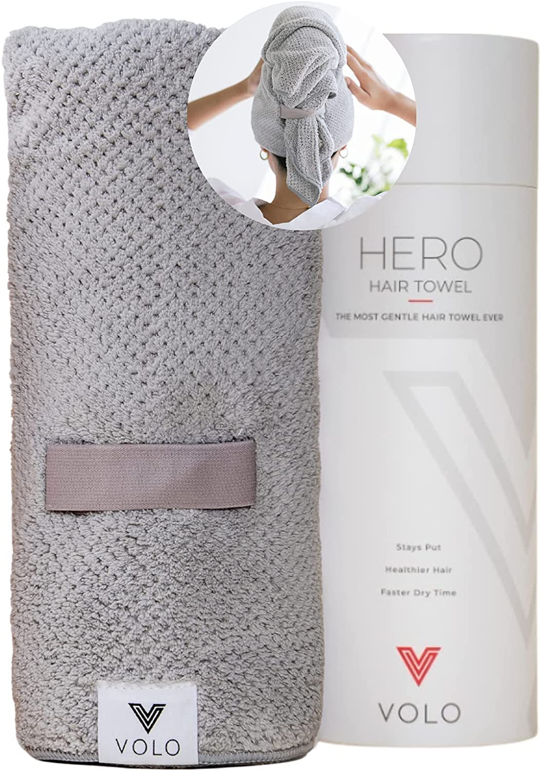 VOLO Hero Microfiber Hair Towel   Super Absorbent, Ultra-Soft, Fast Drying   Reduce Dry Time by 50%   Large, Premium Wrap Towel for All Hair Types   Anti-Frizz, Anti-Breakage, Hands-Free   Luna Gray: Kitchen & Dining