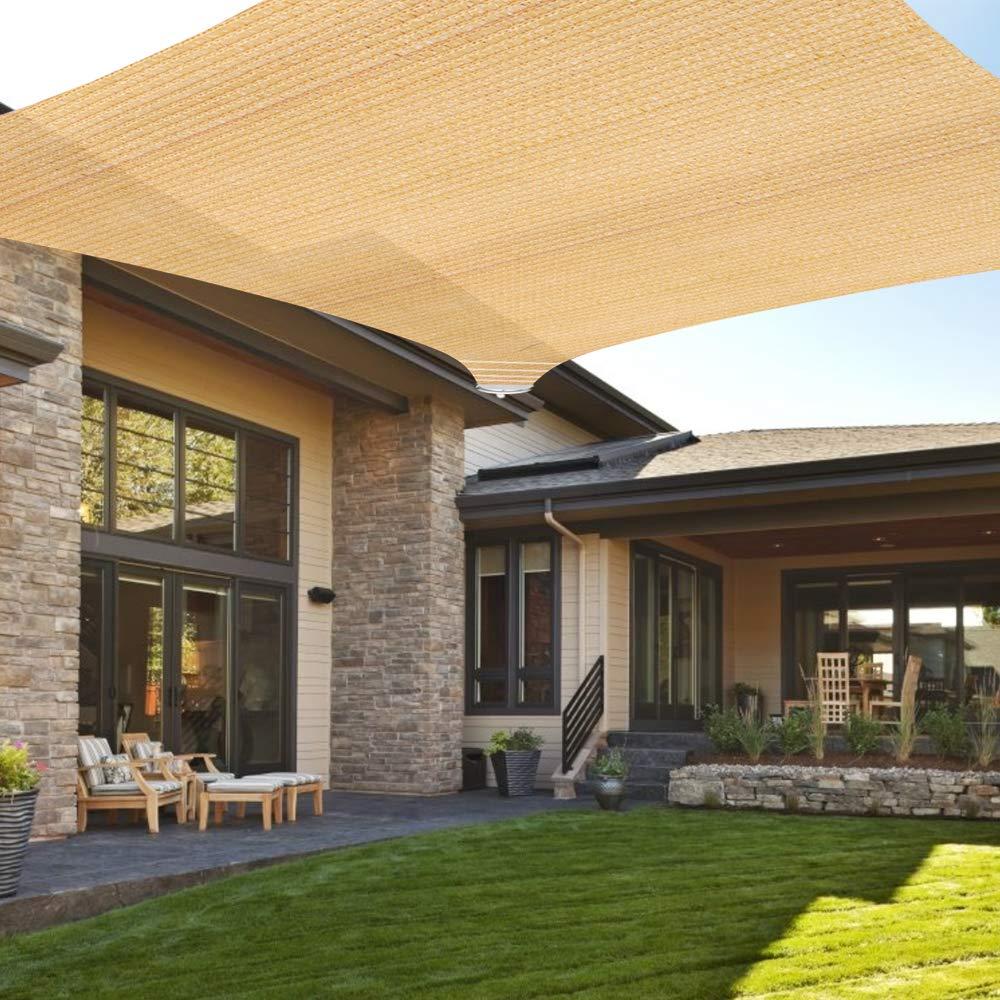Ankuka 10' x 13' Sun Shade Sail Canopy Rectangle Sand UV Block for Outdoor Patio and Garden, Yard Activities by Ankuka