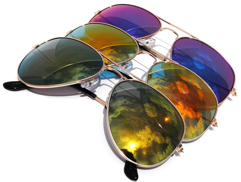e8bf3a45da Amazon.com  Classic Aviator Sunglasses Mirror Lens Gold Color Frame 3  pairs  Clothing