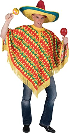 Mexcian Poncho /& Sombrero Hat Adults Fancy Dress Mens Ladies National Costume