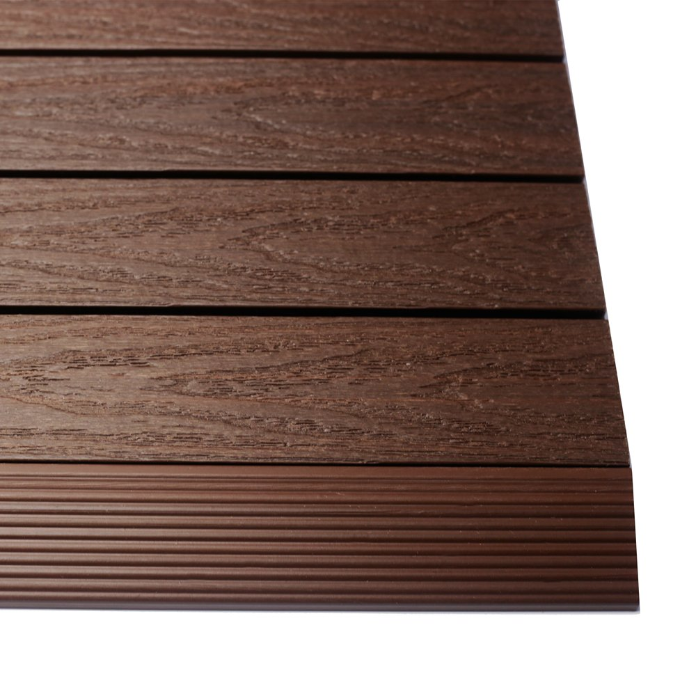 NewTechWood US-QD-SF-ZX-RW 1/6 x 1 ft. Quick Composite Deck Tile Straight Trim in California Redwood (4-Pieces/Box)