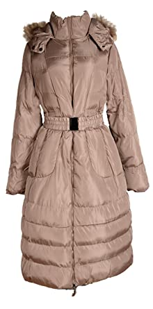 8339ca92ffd3 Italy Donna Damen Lang Wintermantel Ballon Mantel Fell Kapuze Steppmantel  Parka Trench Coat Beige 40 42