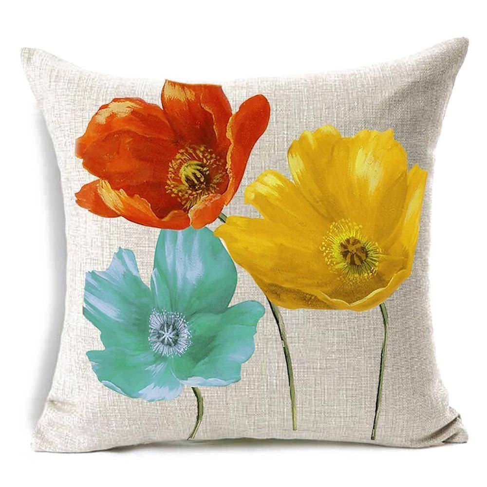 TOOGOO(R) flax Square Decorative Throw Pillow Case Cushion Cover Enchanting Beautiful Tricolor Red Yellow Blue Poppy Flowers Gift Anniversary Day Present 4545cm