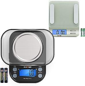 Accuweight 207 Digital Kitchen Scale +AccuWeight 255B Mini Pocket Gram Scale
