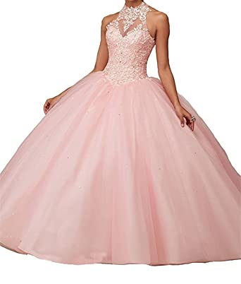 Jurong Women s Appliques High Neck Beads Long Pageant Quinceanera Dresses 0  US Pink bda3b5e0eb20