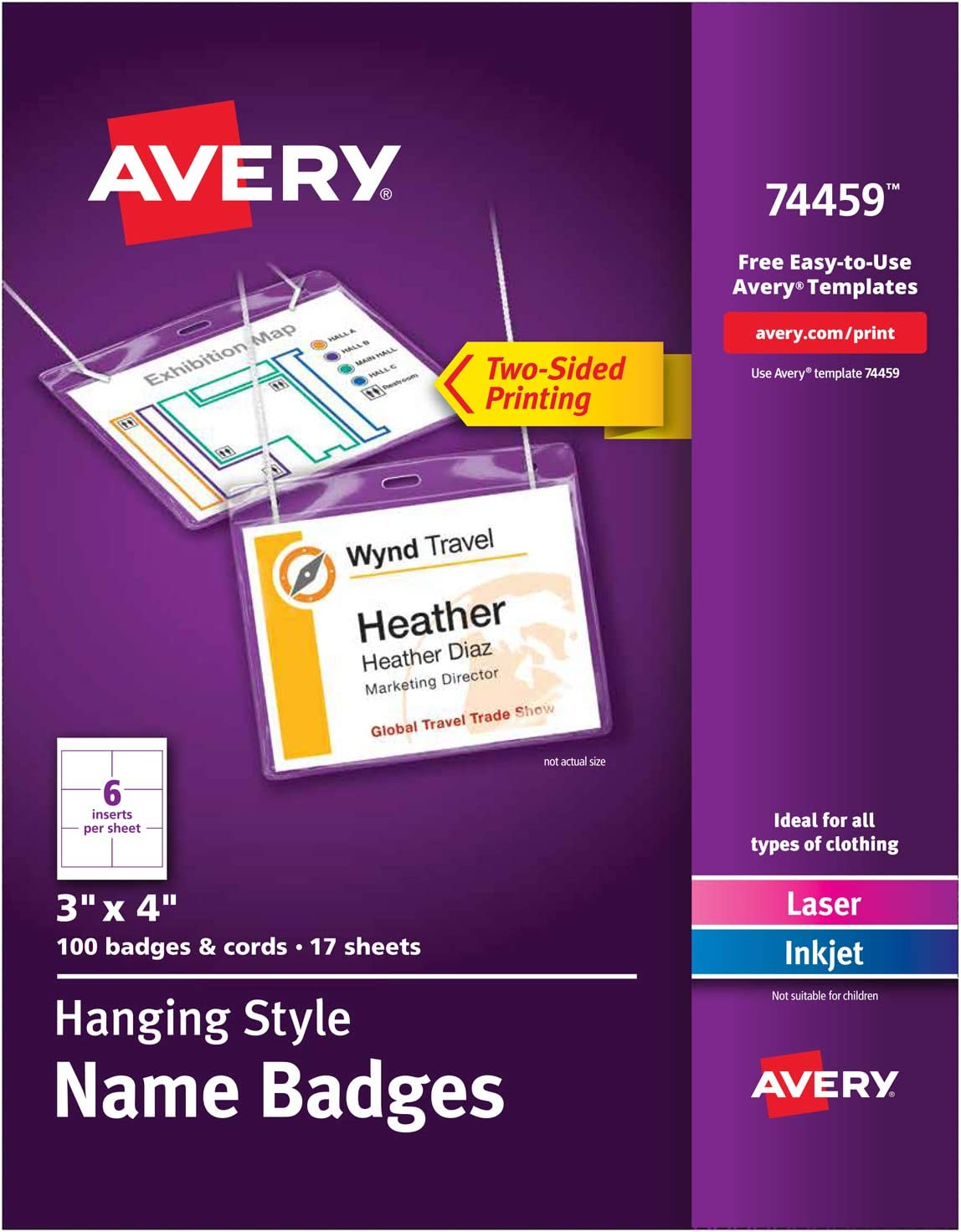 Avery Name Badges With Lanyards Print Or Write 3 X 4 Badge Holders Lanyards 100 Inserts 74459