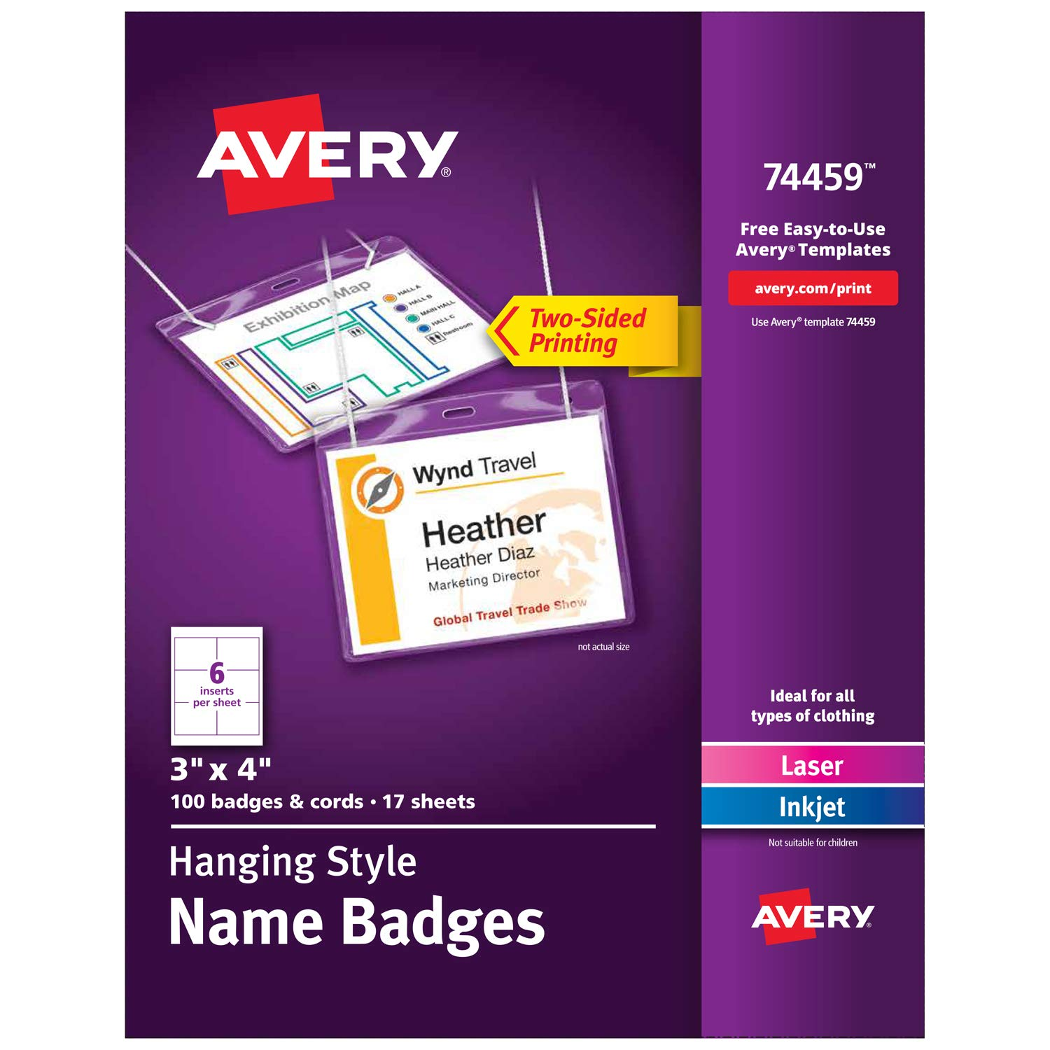 Amazoncom Avery Name Badges With Lanyards Print Or Write X - Avery vertical name badge template
