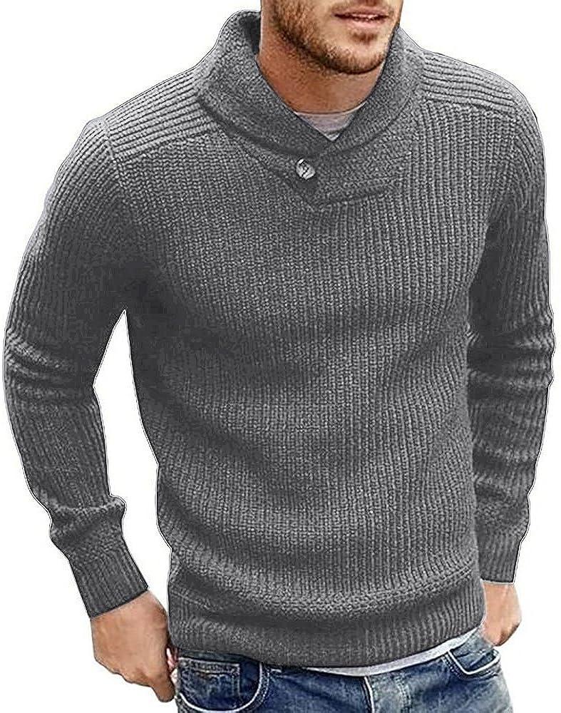 Runcati Mens Sweaters Shawl Collar Slim Fit Pullover Fall Winter Casual  Knit Ribbed Coat at Amazon Men's Clothing store