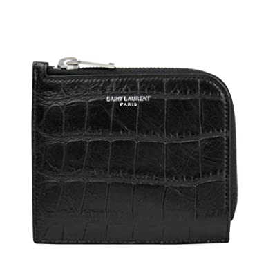 c6fd975ed81 Image Unavailable. Image not available for. Color: Saint Laurent YSL Men's  Imprint Black Leather Crocodile Card Case ...