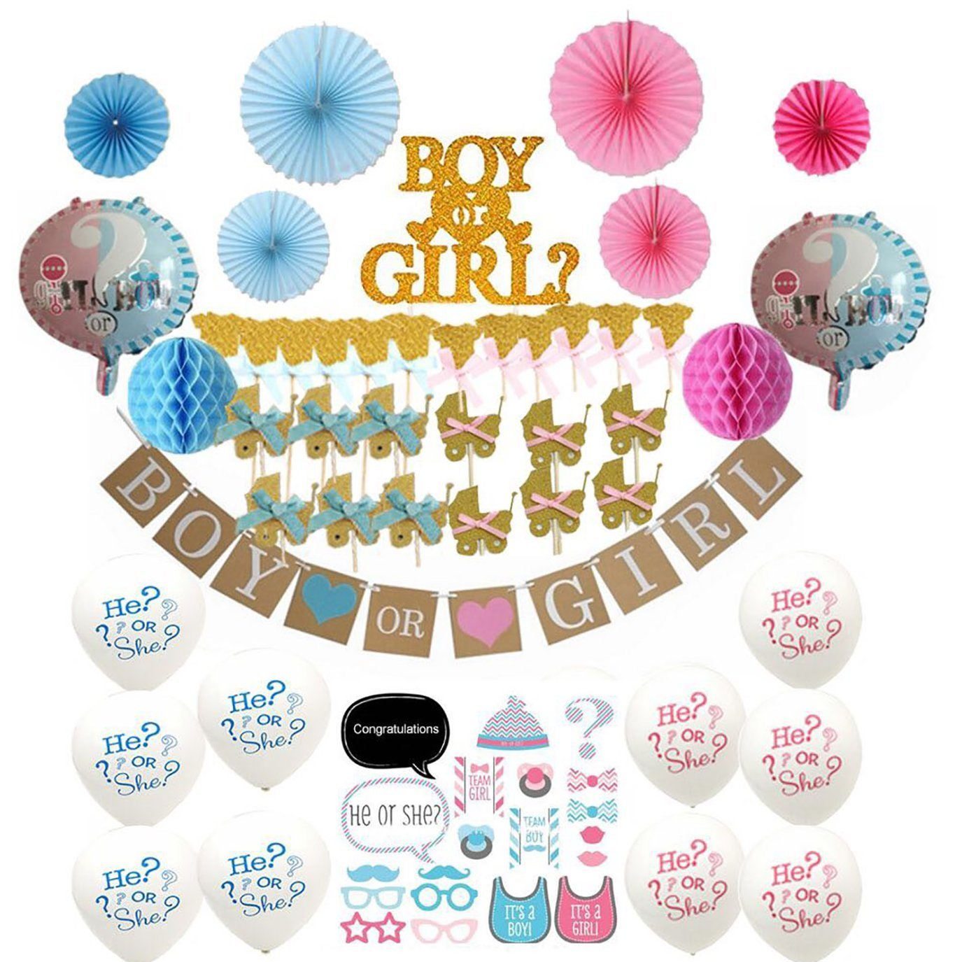 66-Pc Deluxe Baby Reveal Party Supplies - Gender Reveal Decorations, 20pc Photo Booth Props, Cake Set - Banner + Pink & Blue Fans & Honeycomb Balls + Cake & Cupcake Toppers + Balloons