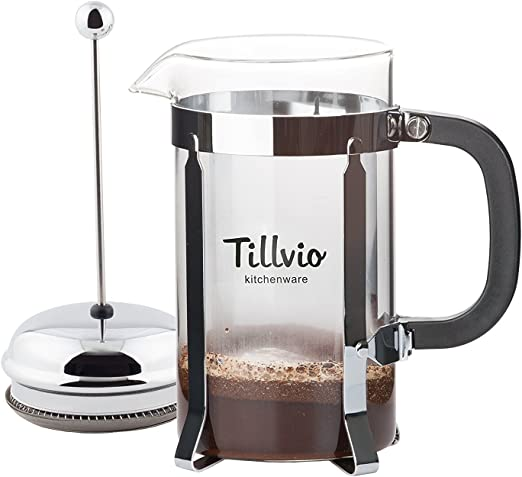 tillvio French Press – Cafetera eléctrica grande con extra ...