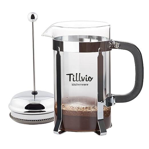 tillvio French Press - Cafetera eléctrica grande con extra ...