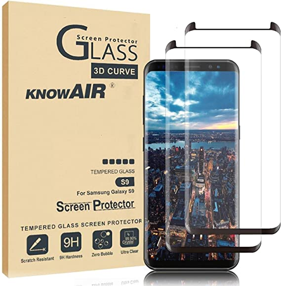 2 Pack Glass Screen Protector Update Version Full Screen Coverage Case Friendly KNOWAIR 3D Curved Dot Matrix Galaxy S9 Screen Protector Tempered Glass, for Samsung S9