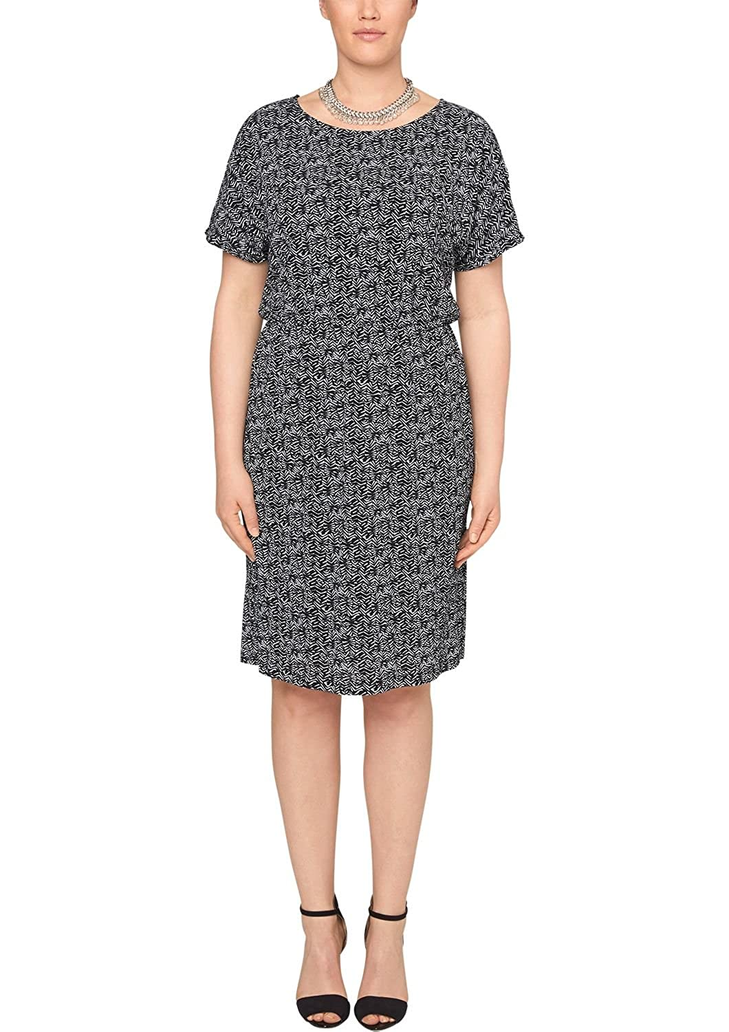 Triangle by s.Oliver Damen Kleid mit Alloverprint, Knielang