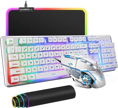 Combo Teclado y Ratón con Cable 104 Teclas Teclado Retroiluminado RGB, 6 Botones 2400 dpi Ajustable Gaming Ratón, Superficie Impermeable Base de Goma ...