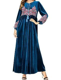 Qianliniuinc Donna Inverno Caldo Arabo Costume-Lunga Abiti Abaya Maxi Dress  Islamico Vestiti Musulmani Gonna 7978e5ecdd2