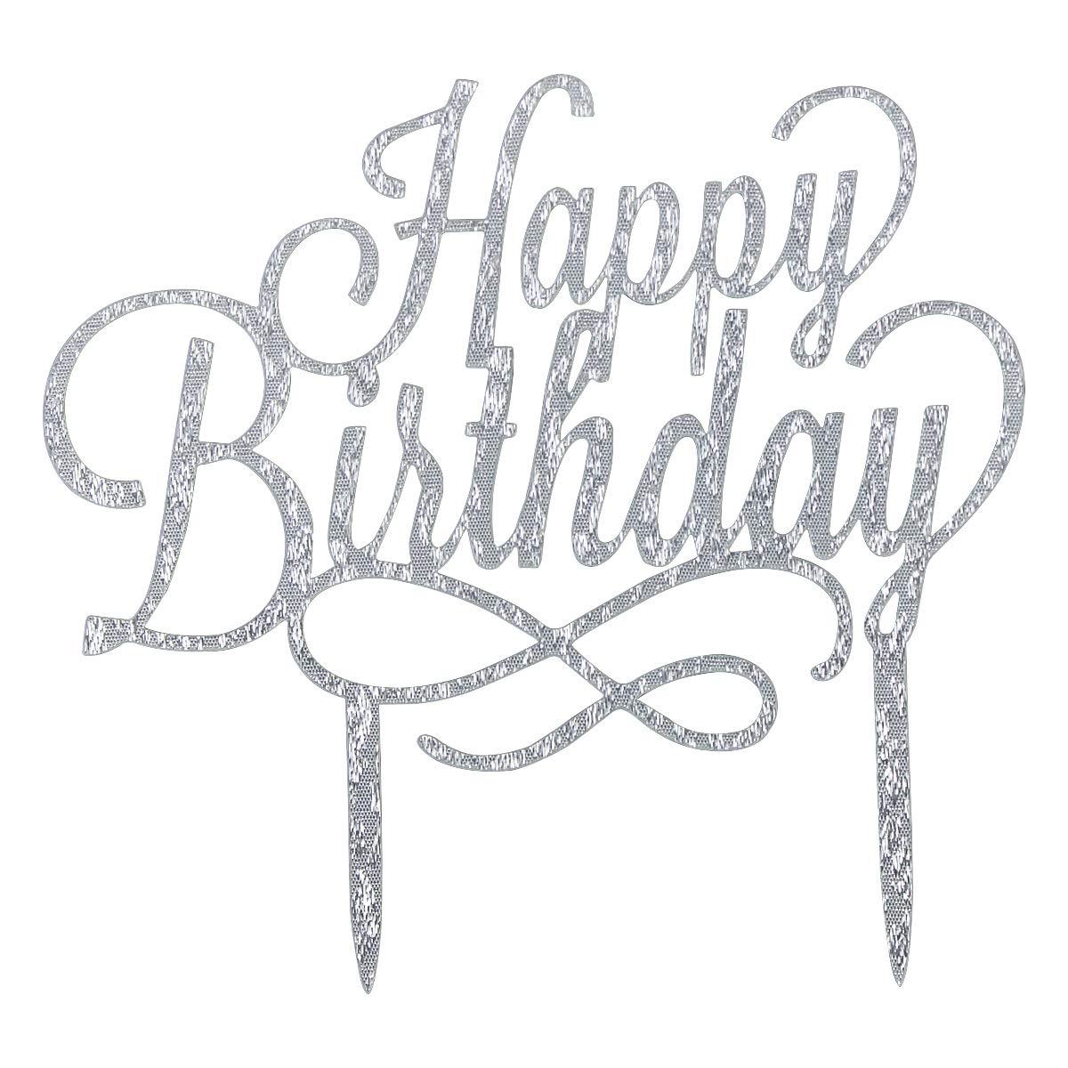 Decoraci/ón de Pasteles,Acr/ílico DIY Cupcake Topper Pare Fiesta de Aniversario,2 Piezas-Oro y Plata. Decoraci/ón para Tartas de Cumplea/ños Kissral Happy Birthday Cake Topper