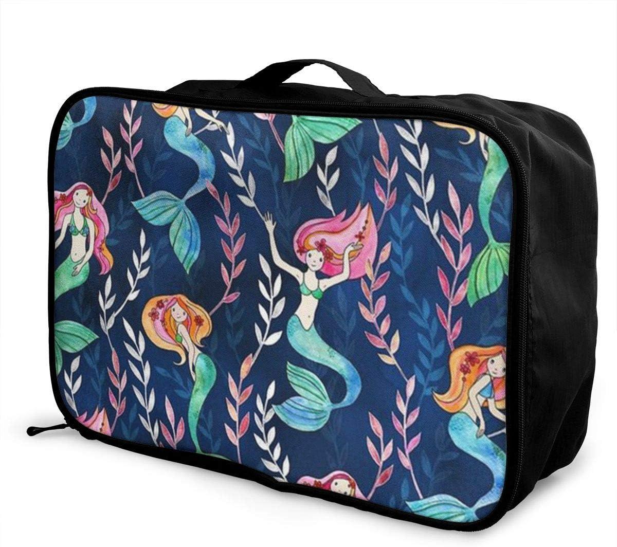 Beautiful Mermaid Pattern Travel Carry-on Luggage Weekender Bag Overnight Tote Flight Duffel In Trolley Handle