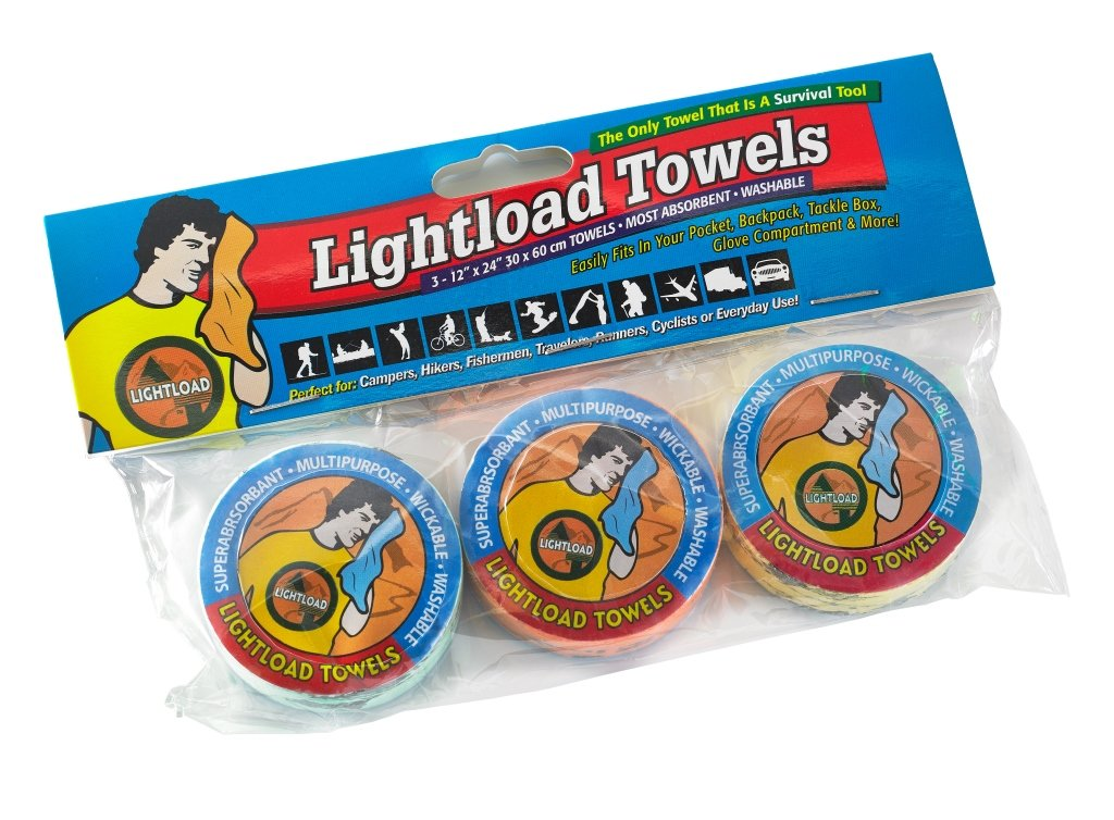 Lightload Towels Compressed Non Microfiber Quick Dry Pack Travel Towel for Camping Backpacking Sports .5 oz 3 Pack 12x24