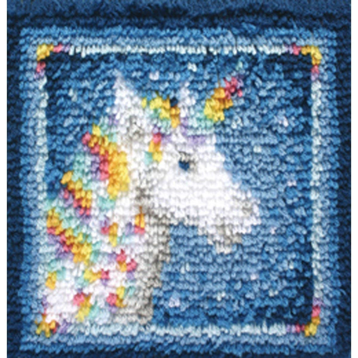 Wonderart Latch Hook Kit 12X12-Unicorn Spinrite