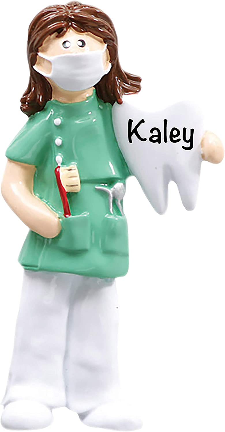 HolidayTraditions Dentist/Dental Hygienist - Girl - Unique Christmas Tree Ornament - Special Keepsake - Custom Patriotic Decoration - Personalization Included