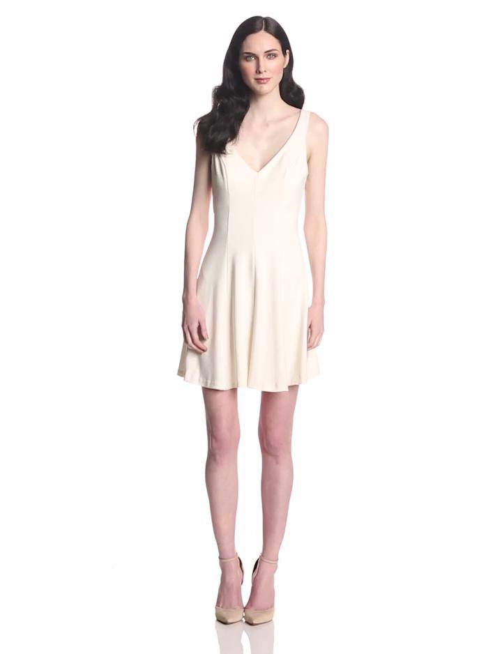Amanda Uprichard Women's Ponte Fit and Flare Dress, Ivory, Medium