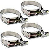 "Squirrelly 2.5"" Stainless Steel T-Bolt Clamp for 2.5 inch Turbo Silicone Intercooler Hose (4 Pack)"