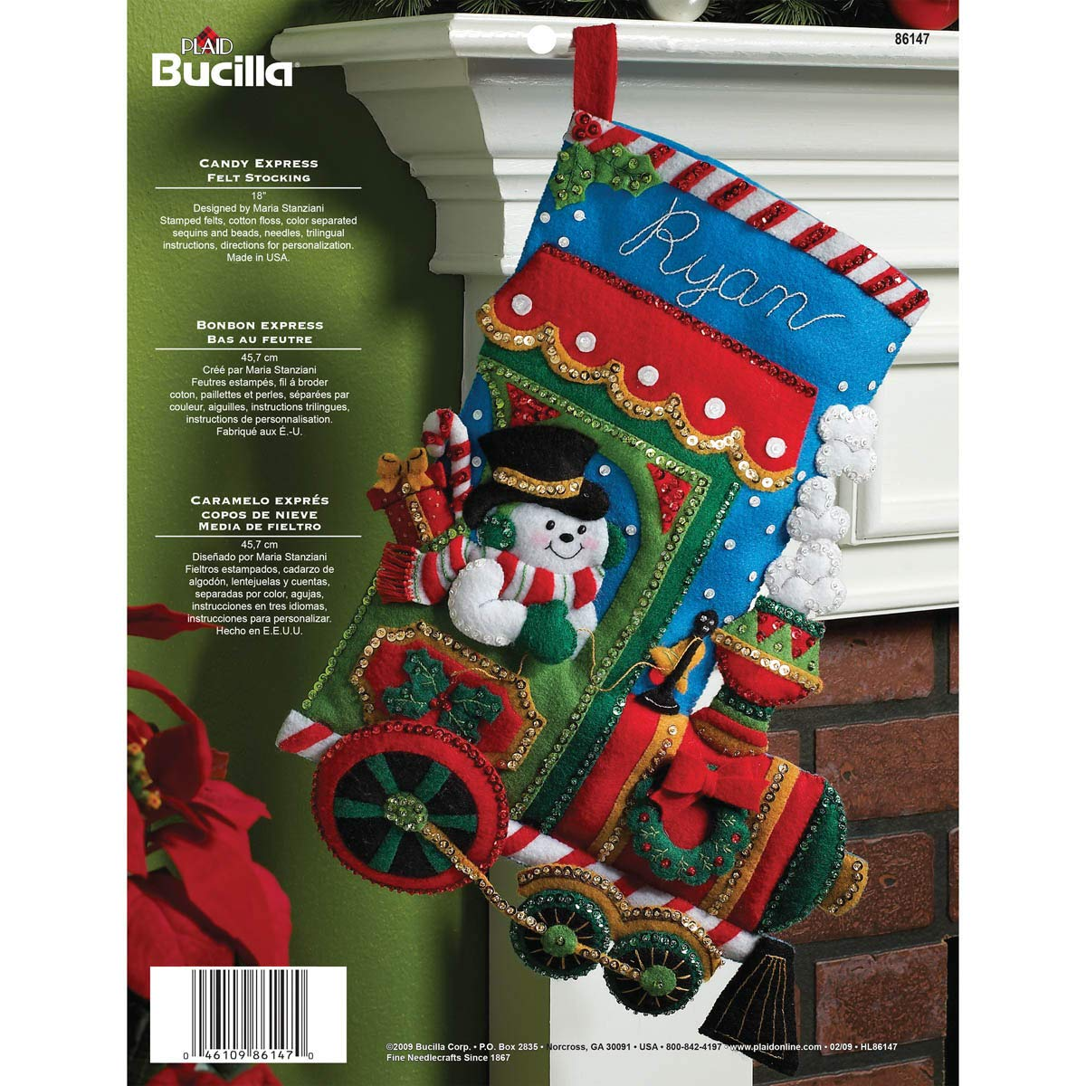 Bucilla 18-Inch Christmas Stocking Felt Applique Kit, 86147 Candy Express product image