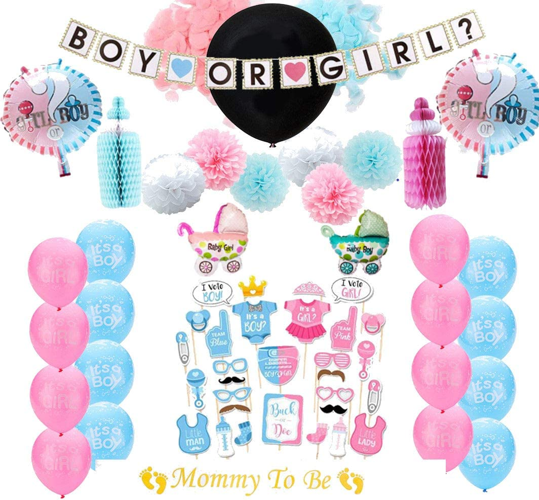 Mommy to Be Sash Baby Gender Reveal Party Decorations Kit 63 pcs Pom Poms Photo Props Boy or Girl Supplies Black Gender Reveal Confetti Balloon Pink and Blue Balloons Banner