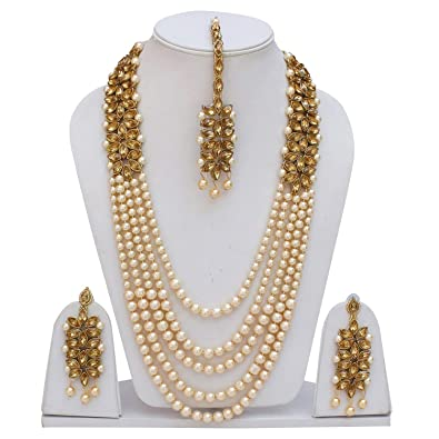 3f8c1970cae24 Buy Gold Traditional Kundan Pearl Necklace Set with Earrings for ...