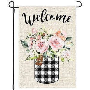 PANDICORN Spring Summer Garden Flag 12×18 Inch Double Sided, Buffalo Plaid Check Mason Jar Watercolor Floral Flower, Small Vertical Farmhouse Welcome Seasonal Garden Decor for Outside Yard Wedding