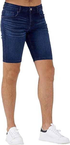 Men/'s Slim Fit Stretch Denim Shorts Jeans Flat Front Half Pants