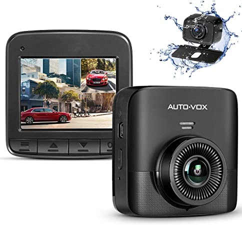 AUTO-VOX D5PRO Dual Dash Cam Front and Rear, 1520P Car Dashboard Camera Recorder, Built-in Super Capacitor,Two Ways Installation,140 Wide Angle, G-Sensor, Motion Detect and Parking Monitor