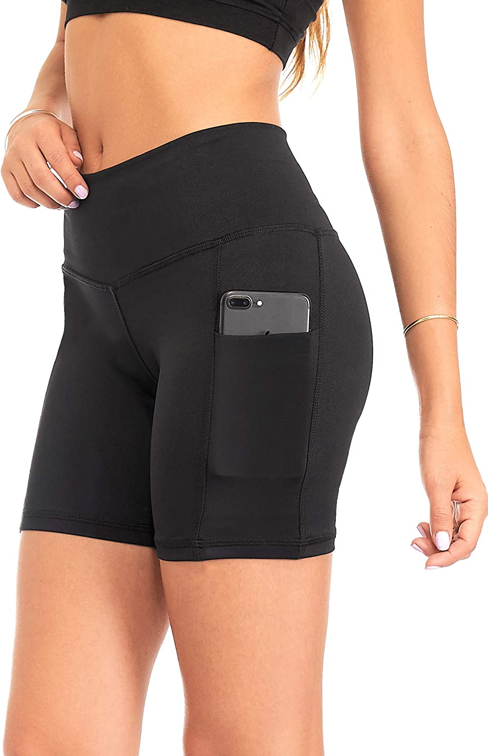 DEAR SPARKLE Yoga Shorts for Women with 2 Pockets - Workout Running High Waist Short - Plus (S15)