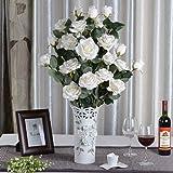 fiori artificiali 1x Rosa artificiali per la decorazione domestica senza vaso & Basket, 1bunch di Fiore, Bianco