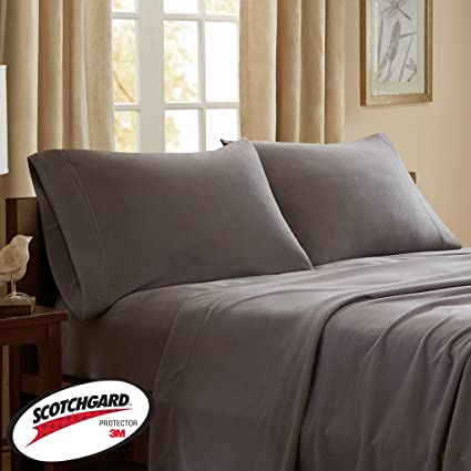 Peak Performance 3M Scotchgard Micro Fleece Grey Sheet Set, Causal Bed  Sheets Twin, Bed