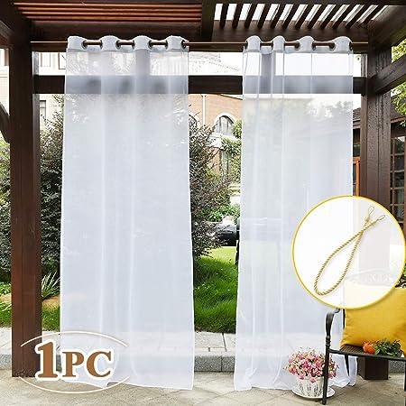 PONY DANCE Visillos Blancos Cocina Salon Exterior - Cortinas Impermeable de Ducha con Ollaos 1 Panel, 137 x 274 cm (An x Al), Separadores Ambientes para Comedor Sala Dormitorio Oficina Hotel: Amazon.es: Jardín