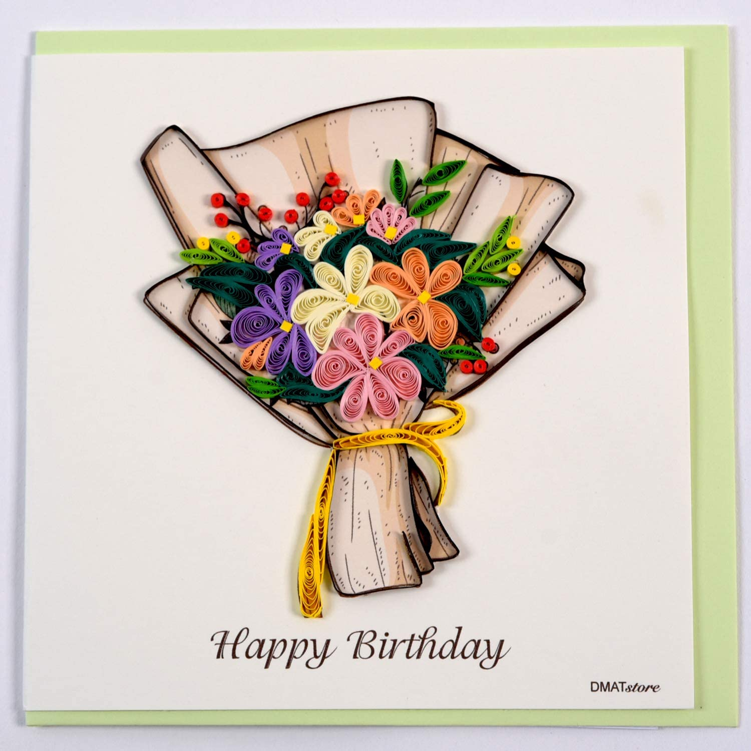 Birthday Girl Quilling Greeting Card Design Greeting Card for all occasion by GREENHANDSHAKE Unique Dedicated Handmade Art