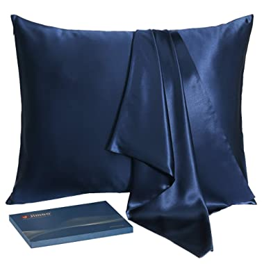J JIMOO Natural Silk Pillowcase,for Hair and Skin with Hidden Zipper,22 Momme,600 Thread Count 100% Mulberry Silk (Standard 20''×26'', Navy Blue, 1 Piece)