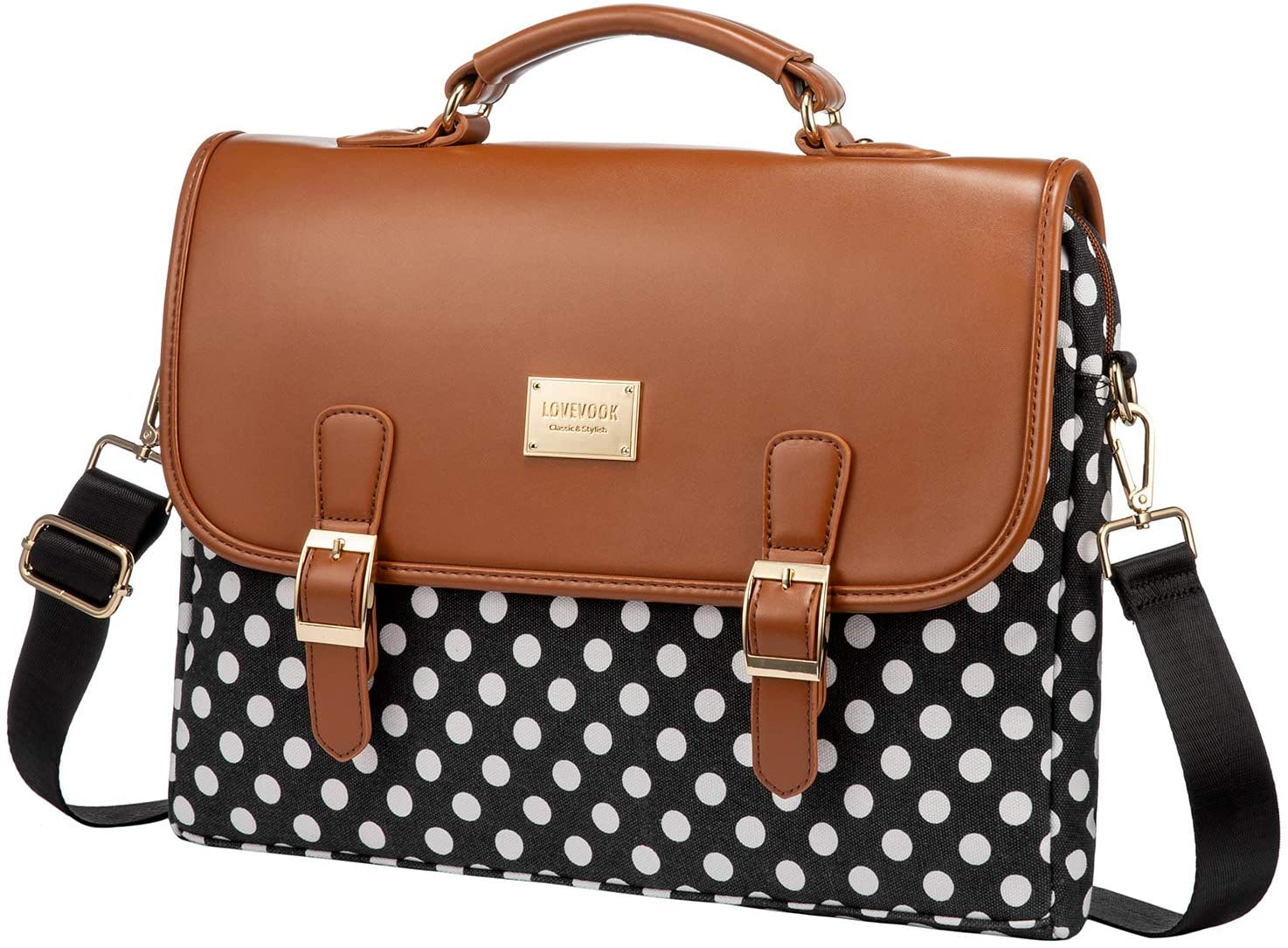Computer Bag Laptop Bag for Women Cute Laptop Sleeve Case for Work College 14-Inch Polka-Brown